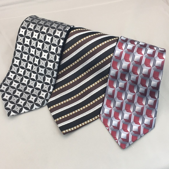 Other - Men's Silver Silk Ties Lot of 3